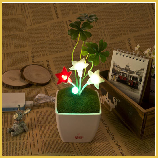 USB DC5V LED night light/lamp five angle flower light touch dimming warm white+green+red cute baby night light baby bedside(China (Mainland))
