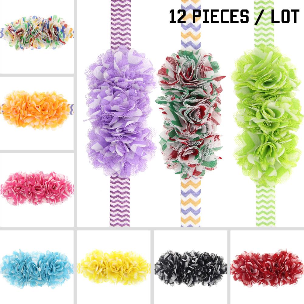 Baby Girls Flowers Headbands Toddler Infant Hairband Newborn Headwear Kids Hair Accessories Elastic Chiffon(China (Mainland))