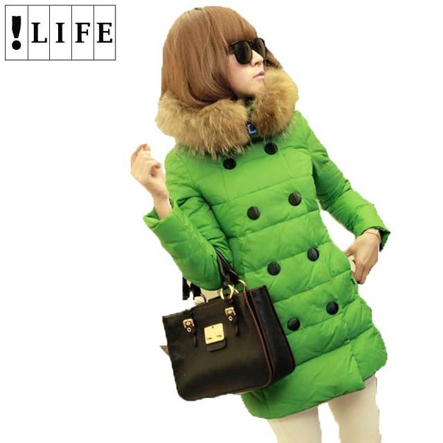 !LIFE Winter Down Parkas Women's Coat Thick Double Breasted Fur Collar Coat Candy Color Long Duck Down Jacket For Girl FWO10988