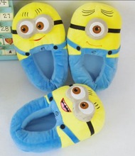 Despicable Me Minion 2 Baumwolle Hausschuhe Lustige Cartoon kawaii warme Hausschuhe in Hause Winter Indoor Schuhe für Frauen Männer(China (Mainland))