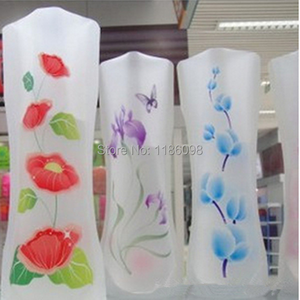 2pcs Many Styles Small Folding Vase And Beautiful Colors Home Decoration Plastic Flower Vase Random Color uPBs(China (Mainland))