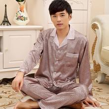 Men Pajama Spring And autumn Silk Pyjamas Men Nightshirt Thin Long-sleeve Men's Lounge Pajama Sets Plus Size XXXL(China (Mainland))