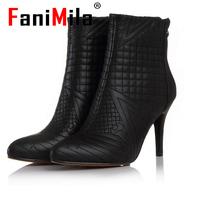 Envío gratis del tobillo corta natural real cuero genuino del alto talón mujeres nieve zapatos de la bota R5127 tamaño del EUR 33-42(China (Mainland))