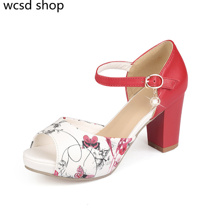 2015 elegant women sandals shoes high heels Printing Leather open toe fashion female summer shoes big size women shoes <br><br>Aliexpress