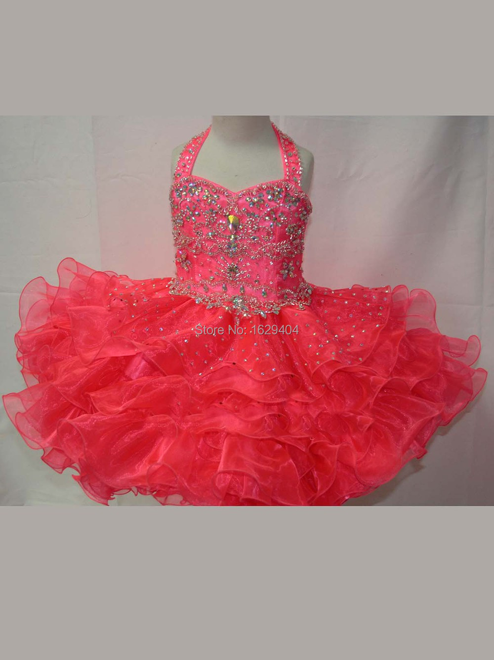 2015Attractive Peach Toddler Pageant Gown Cupcake Garment Halter Sparkly Sequins Ruffled Flower Girls Dresses Off The Shoulder(China (Mainland))