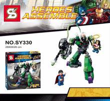 2015 Shen Yuan SY330 DC Super Heroes Superman VS Robot figura ladrillo juguetes Minifigures bloques de construcción con LEGO