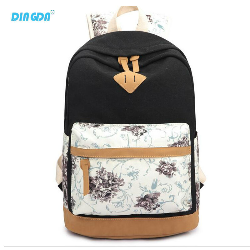 Special Purpose Bags Canvas Nubuck Leather Rucksack Backpacks School Bags for Girls Mochila Escolar Printing Backpack Scho