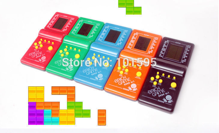 Classical Game Machine !!! Black Handled Game Players Overlapping Squares Flying Tetris Game BOYS Loved Toys(China (Mainland))
