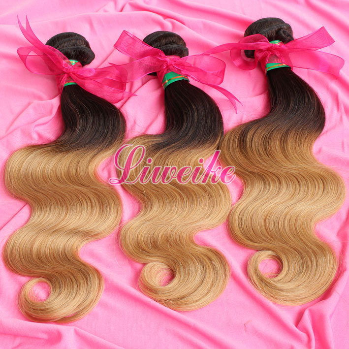 2014 New Fashion two tone color hair extensions ombre color hair brazilian hair weaves 4PCS/LOT ombre color weaves