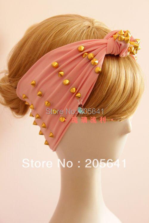 Unique Design Gold Rivet Pink Color Punk Rivet Headbands Custom Made Hand Made Personality Studs Hairbands Star Rivet Bandanas(China (Mainland))