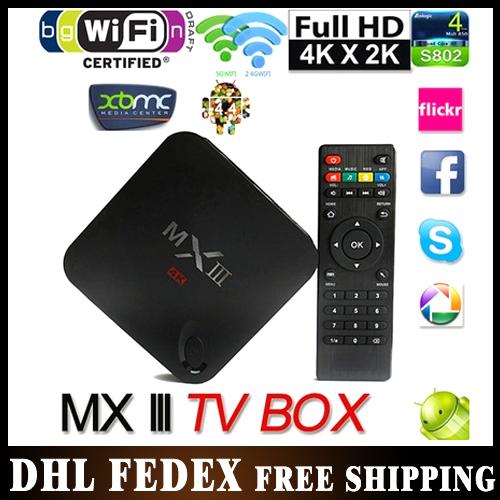 10pcs/lot DHL Free shipping Android 4.4 Quad Core MX3 tv box 2gb/8gb memory support wifi skype youtube MXIII tv box(China (Mainland))