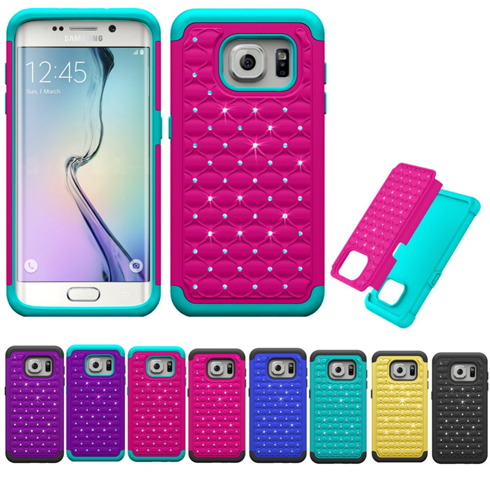 Bling Bling Rhinestone Plastic Hard back Silicone Rugged Case Cover For Samsung Galaxy S7 Edge Dual Layer Shockproof Case(China (Mainland))