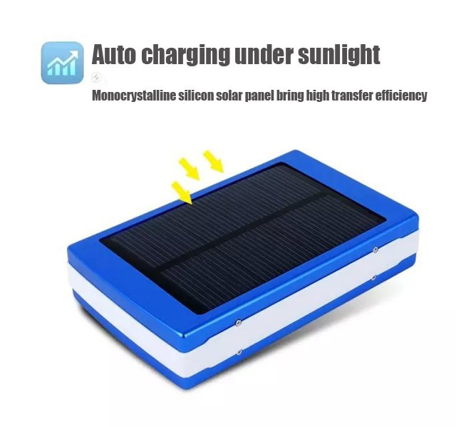 New Solar Power Bank With Camping LED lights Outdoor Flashlight Cargador Sun Battery Charger To USB Electronics Free shipping