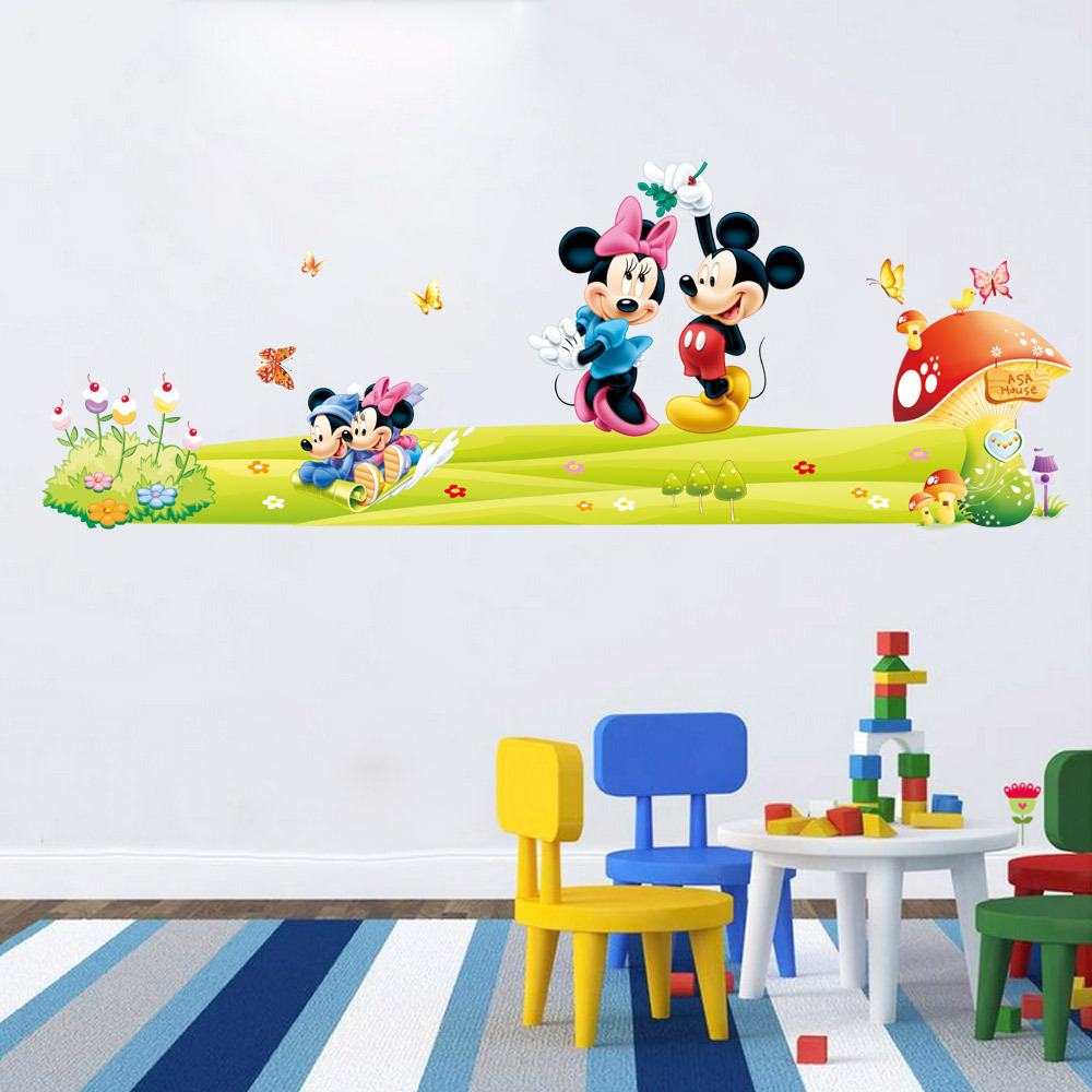 mickey minnie mouse wall stickers boys girls kids room decor removable cartoon mural art. Black Bedroom Furniture Sets. Home Design Ideas