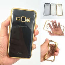 Ultra thin clear transparent Gold armor soft tpu case cover Samsung Galaxy J120F J120 J320 J320F j1 J3 J5 J7 2016 J1 mini - Phone_cover Co.,Ltd store