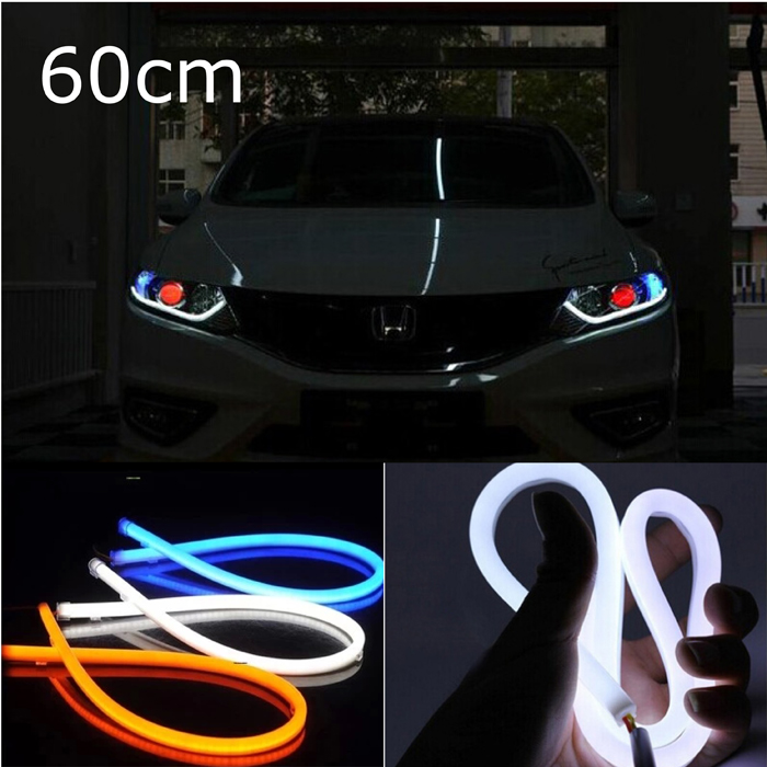 2x 60cm White Yellow Red Blue Flexible LED daytime running lights DRL car styling(China (Mainland))