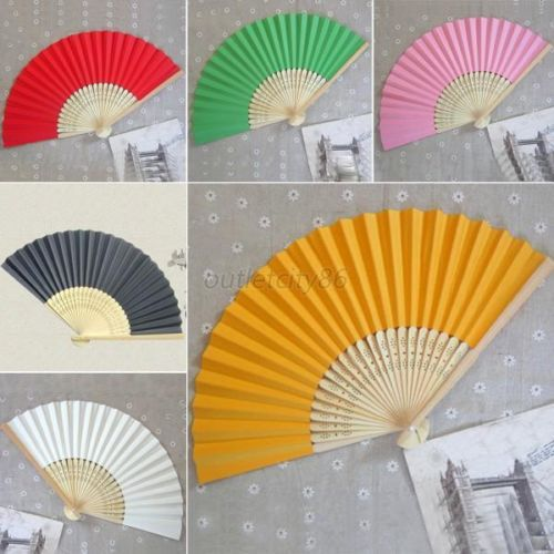 17 Colors Summer Chinese Hand Paper Fans Wedding Party Decoration Favors Pocket Folding Bamboo Fan.(China (Mainland))
