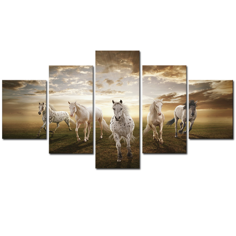 Unframed 5 pcs high quality cheap art pictures running for Discount wall decor home accents