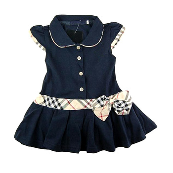 Children Fashion Princess  Dress Plaid Print and Bow Waist Girls Brand Dresses 100%Cotton Kids Girl Tennis One-piece Dress