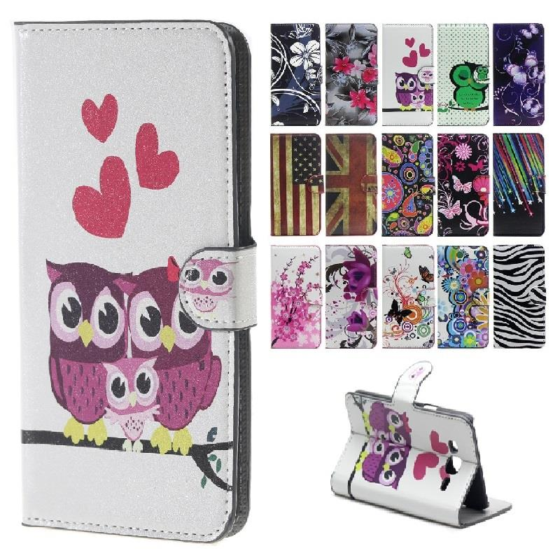 Cute Cartoon Cat Owl Leather Cover for Huawei G8 Case Flip Cover for Huawei Ascend G8