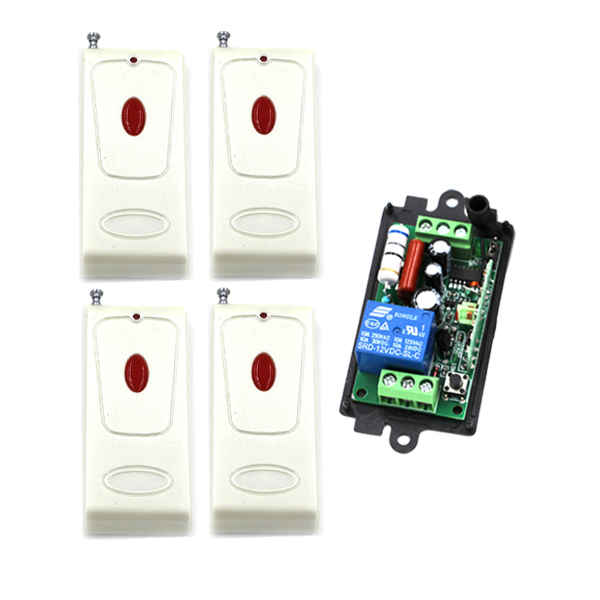 AC 220V 1 Channel Smart Wireless Remote Control Switch Self-locking 4pcs One Red Button Transmitter SKU: 5505<br><br>Aliexpress