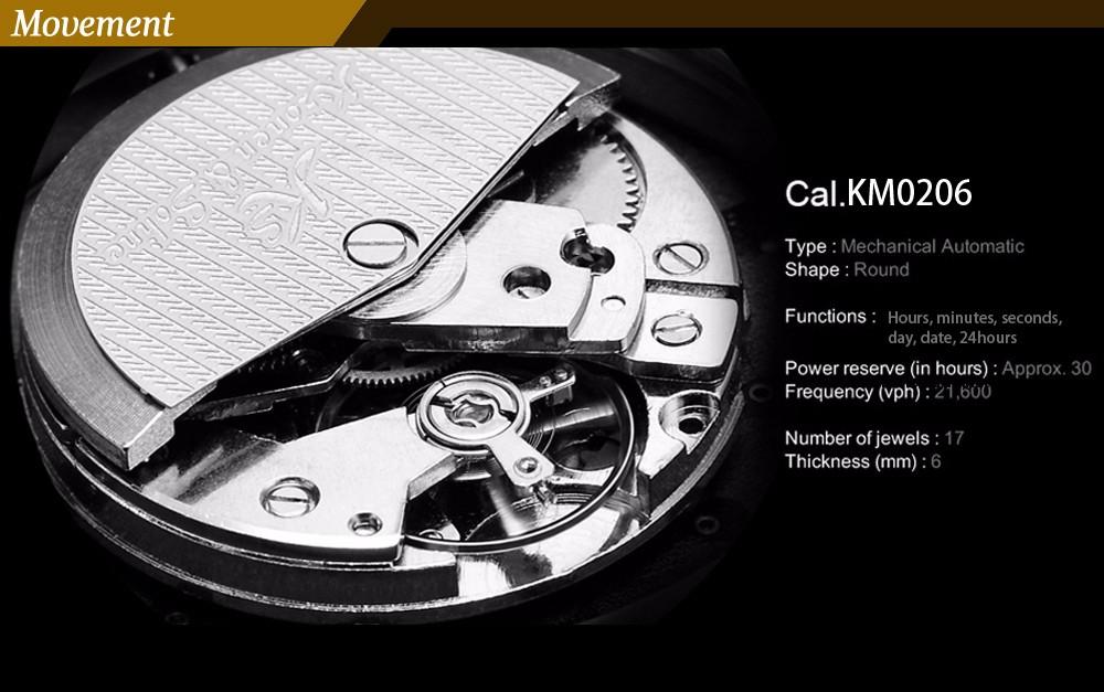 Навигатор KS Luxury Brand Полный Черный Дата День 24 Часов Дисплей Стальной Ленты Автоматические Автоподзаводом Механические Мужские Часы/KS224