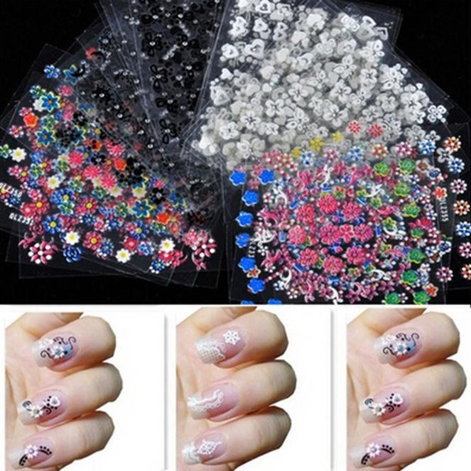 Flower Design Nail Art Accessories Tips Stickers Decals Decoration