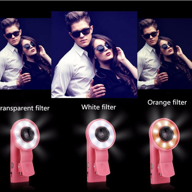 Brand New Clip-on Phone Selfie Speedlite LED Flash Light Lamp Wide Angle Fish Eyes Lens Fill light For Cellphone 4 Color(China (Mainland))