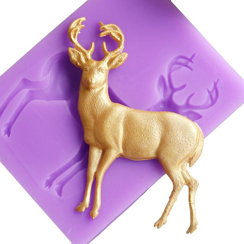 3D Cake Mold DIY Deer Silicone Christmas Deer Fondant Soap Mold Bakeware Gumpaste Chocolate Kitchen Baking Tools 5*6.7cm(China (Mainland))