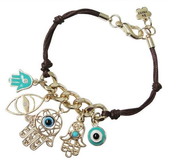 [Min. 10$] !!Handmade Charms Bracelet hamsa Fatima Hand Turquoise Evil Eye Charm Hamsa Bracelet free shipping B2-268(China (Mainland))