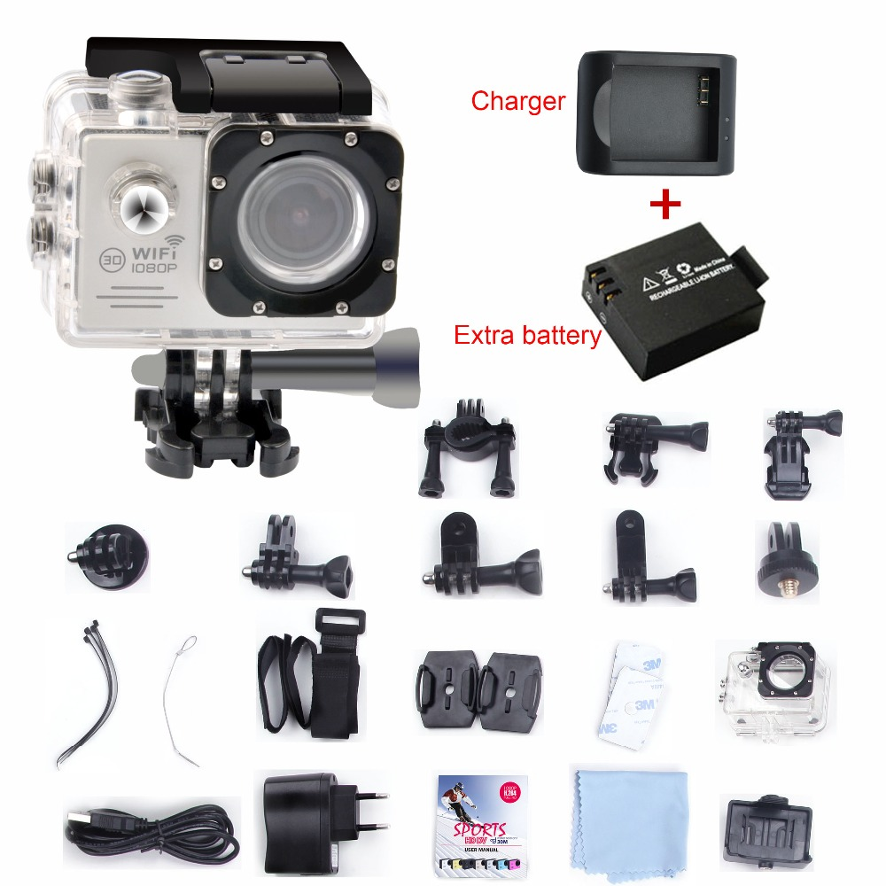Full HD 1080P 30FPS With WiFi 2.0'' LCD Screen Sport Action Camera Digital Video Camera + Extra 1pcs Charger