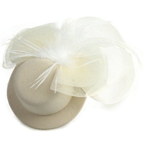 HOT Cream Feather Mini Top Hat Organza Mesh Hair Clip Veil Fascinator(China (Mainland))