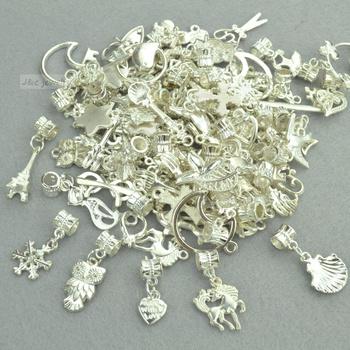 New 50pcs mixed wholesale metal charms bright silver big hole bead charm pendants fits European bracelets jewelry making 3118