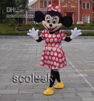 Magnificent Mascot Costume of Cute Mrs Minnie Mouse Cartoon Adult Size Fancy Dress