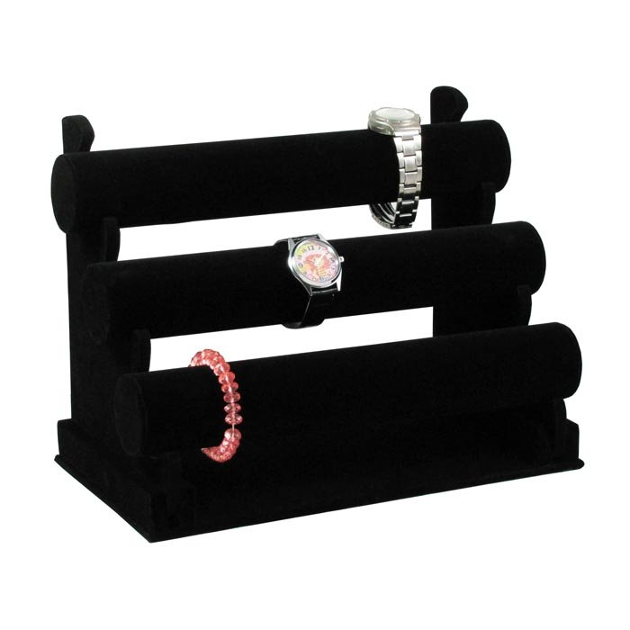 Wholesale Black Velvet Jewelry Display T-Bar 3 Tiers For Watch Bangle Bracelet Display Stand Holder Rack High Quality CF-333BV(China (Mainland))