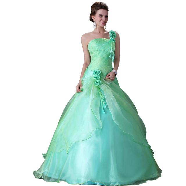 Free Shipping 1pcs/lot Grace Karin Taffeta Chiffon Designer Wedding Bridal Dress, Green Ball Gown 6 Size CL2678