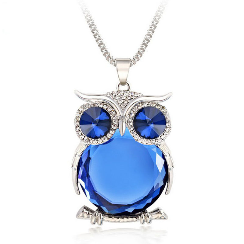 8 Colors Owl Necklace Top Quality Rhinestone Crystal Pendant Necklaces Classic Animal Long Necklace Jewelry For Women Gift(China (Mainland))
