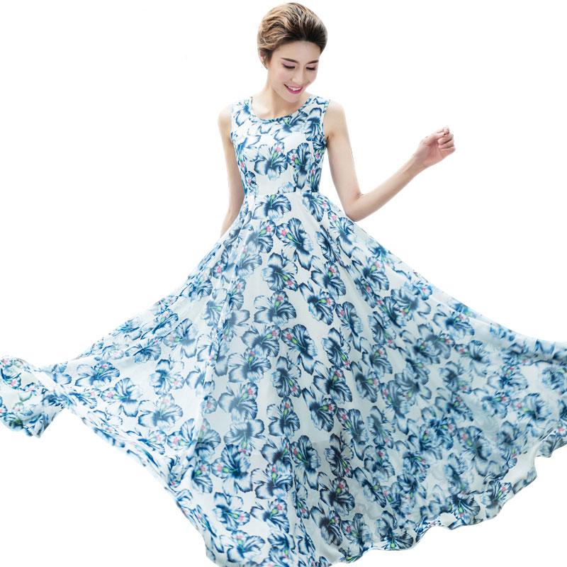 Women Big Swing Maxi Chiffon Dresses 2016 New Plus Size Blue Floral Print Sleeveless Long Bohemian Dress Vestido 2098