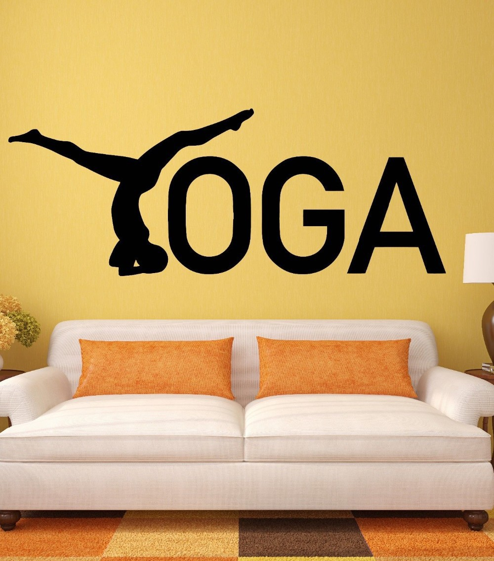 Yoga sticker decal posters lotus vinyl wall decals parede for Poster mural zen deco