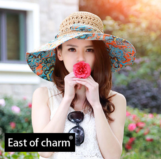 Refreshing! New 2015 Fashion Summer Hat For Women Beach Hat Sun Straw Hat High Quality Lady Foldable Wide Large Brim Floppy(China (Mainland))