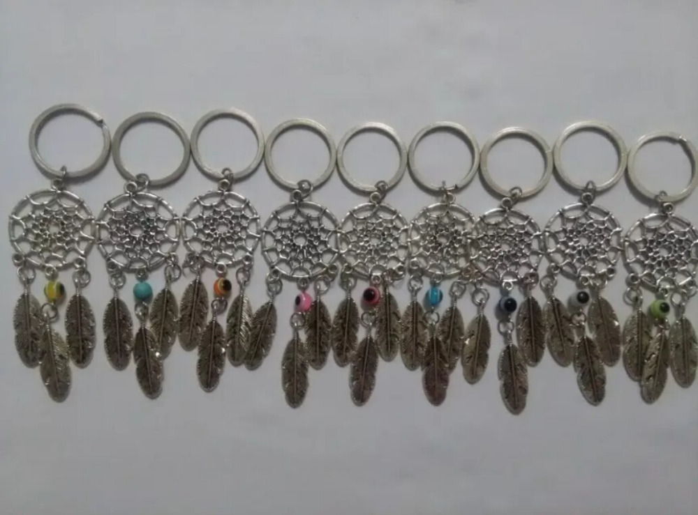 Dream Catcher Vintage Silver Dreamcatcher Acrylic Eye Bead feather 25mm Keychain Trace Chains Charm Fit Key Chains Jewelry D291(China (Mainland))