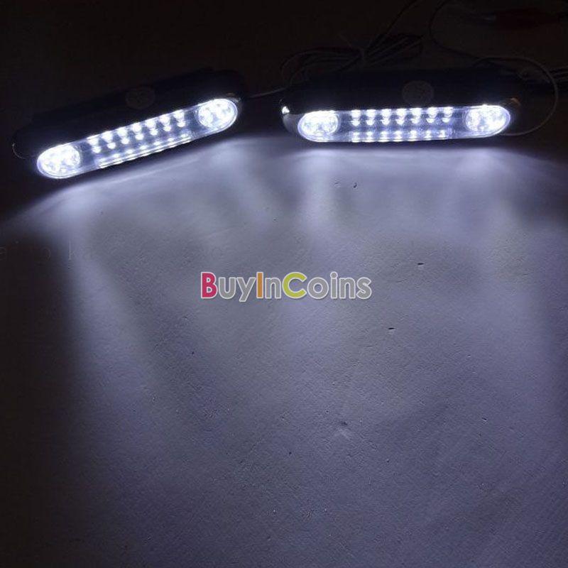 2pcs 28 LED DRL Car Daytime Running Lights Driving Fog Lamp Bulb DC 12V White US AS #52031(China (Mainland))