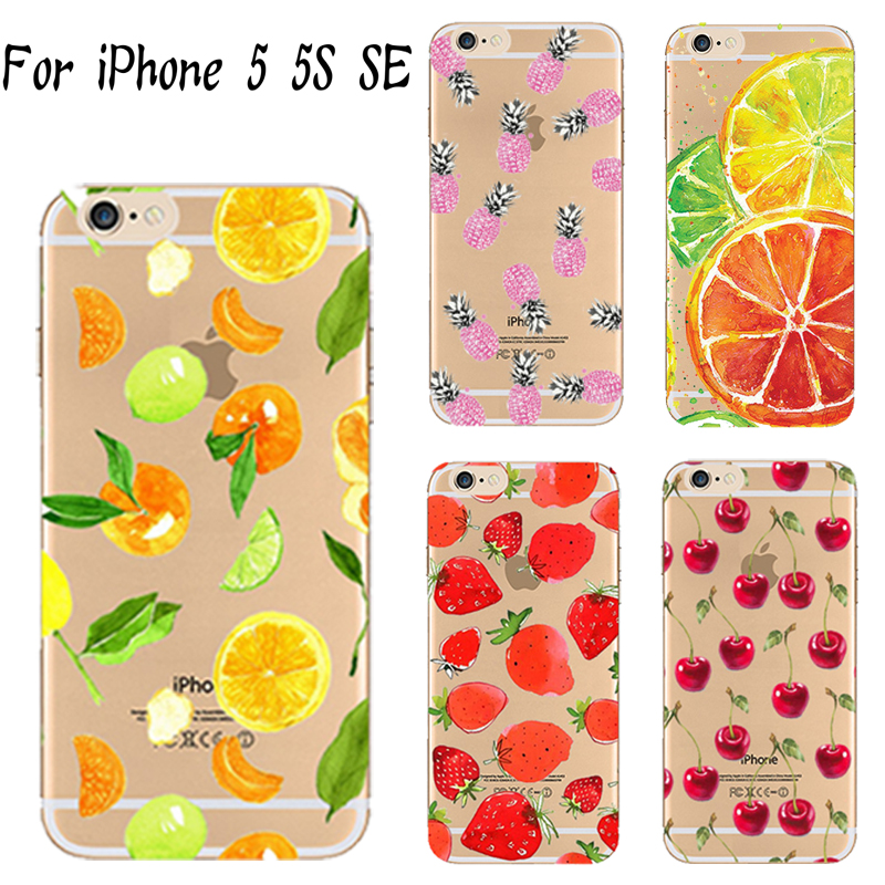 5/5S/SE Soft TPU Cover For Apple iPhone 5 5S SE Case Cases Phone Shell Painted Strawberry Delicious Fruit Design Tart(China (Mainland))