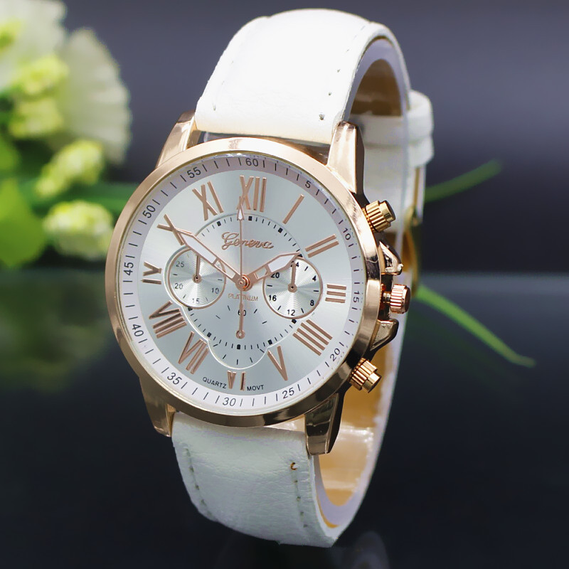 NEW Geneva Watch women Fashion Quartz Watches Leather Young Sports Women gold watch Casual Dress Wristwatches relogios feminino(China (Mainland))