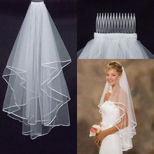 Cheap Simple White Ivory Two Layers Tulle Short Bride Wedding Veil With Comb Ribbon Edge Bridal Accesories Hot Free Shipping(China (Mainland))