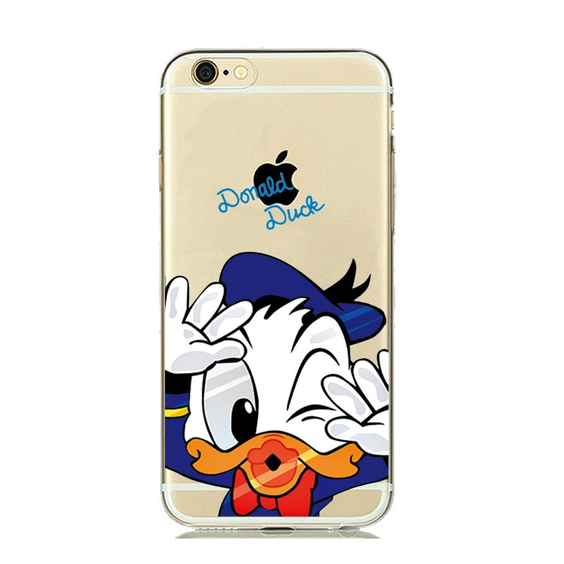 ULTRA Slim Fitting Skin Soft Clear Rubber Silicone Cover for iphone 5s 6 6s Plus Cute Mickey Minnie Mouse Donald Daisy Duck Case