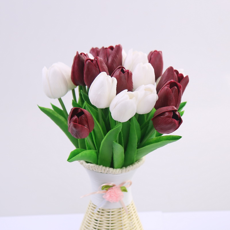 CCINEE 10PCS Wholesale Pu Artificial Tulips For Home Decoration /Artificial Flower Bride Holding Flowers For Wedding(China (Mainland))