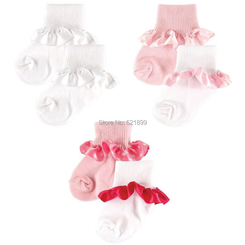 Luvable Friends 2-Pack Newborn Baby Socks Beautiful Cuff Lace Trim 100% Cotton Baby Girl Socks for 0-36 Months(China (Mainland))