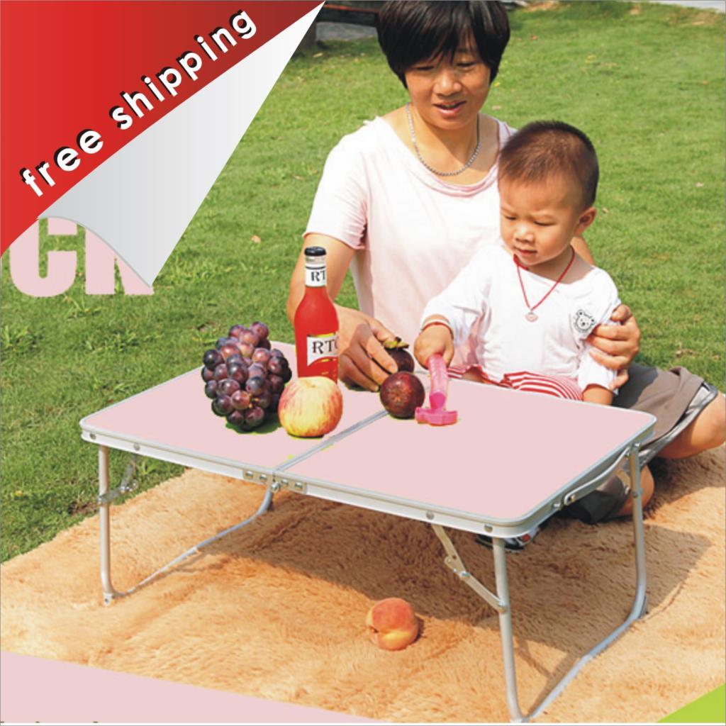 Pink Small Table Laptop Desk Computer Desk Queen Bed Study Desk Outdoor Aluminum Folding Table Small Table(China (Mainland))