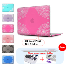 Lace + Rose Red Background Laptop Computer Bag Case For Mac Apple Macbook Pro 15 For Macbook 12 Retina + Silicone Keyboard Cover